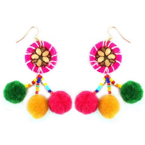 Pom Pom Fish Hook Earrings